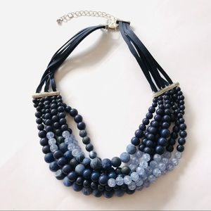 Chico's Blue Beaded Multi-strand StatementNecklace